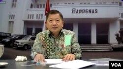 Menteri Perencanaan Pembangunan Nasional/Ketua Bappenas, Suharso Monoarfa, Selasa 22 Desember 2020. (Screenshot: VOA/Anugrah)