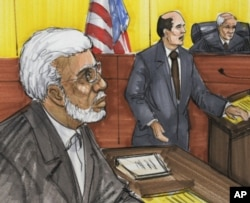 A June 7, 2011 courtroom sketch shows Chicago businessman Tahawwur Rana (L) in federal court in Chicago.