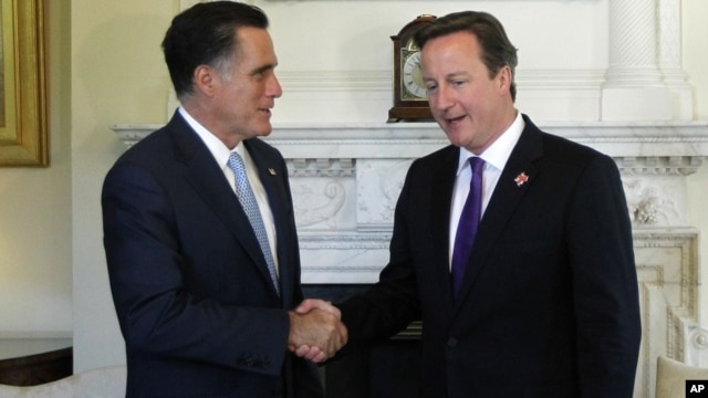 Republican presidential candidate, former Massachusetts Gov. Mitt Romney meets with British Prime Minister David Cameron at 10 Downing Street†in London, July 26, 2012.