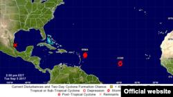 Les tempêtes Irma et Jose surveillées par Centre américain des ouragans (NHC).