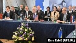 Crnogorski ministar obrane Predrag Bošković, američki ministar obrane James Mattis i hrvatski ministar obrane Damir Krstičević, Zagreb, 13. juli 2018.