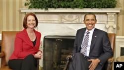 奧巴馬總統星期一在白宮會見澳大利亞總理吉拉德