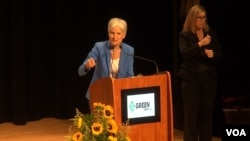 In her Green Party presidential nomination acceptance speech in Houston, Jill Stein went through a list of left-of-center positions the party presents in its platform, including a government payoff of student loan debt, an end to free-trade agreements, and an end to U.S. military action in the Middle East, Aug. 6, 2016. (G. Flakus/VOA)