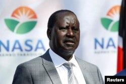 Kenyan opposition leader Raila Odinga of the National Super Alliance speaks during a news conference in Nairobi, Kenya, Feb. 1, 2018.