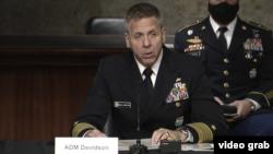 美國印太司令部司令戴維斯上將在參議院軍事委員會作證。(2021年3月9日)