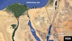 Bản đồ khu vực Sinai, Ai Cập.