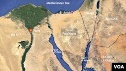 Bản đồ bán đảo Sinai, Ai Cập.
