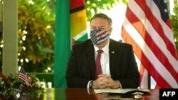 美國國務卿蓬佩奧在圭亞那首都喬治敦參加《美洲發展協議》簽署儀式。 (2020年9月18日)