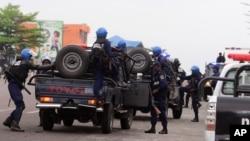 Des policiers déployés dans les rues de Kinshasa, 20 septembre 2016.