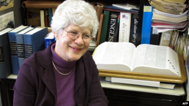 Joan Houston Hall, in her office in Madison, Wisconsin, is chief editor of the newly completed Dictionary of American Regional English