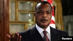 FILE - Congo's President Denis Sassou Nguesso speaks during a news conference, Jan. 22, 2015.