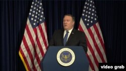 "U.S. Secretary of State Mike Pompeo delivers his ""Supporting Iranian Voices"" speech at the Ronald Reagan presidential library in Simi Valley, California, July 22, 2018."