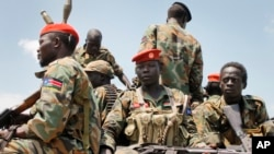 FILE - South Sudanese government soldiers, shown in an October, 2016 photo, and local police repulsed an early morning assault on Yambio, November 10, 2016.