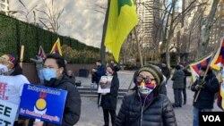 Протестная акция в Нью-Йорке против нарушений прав человека в Китае (архивное фото)