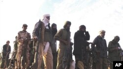 MNLA handout photo taken in February 2012 but released April 2, 2012 reportedly shows fighters gathering in an undisclosed location in Mali.