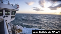 This Nov. 8, 2019, photo provided by John Guillote shows the Chukchi Sea from the top deck of the research ship the Sikuliaq.
