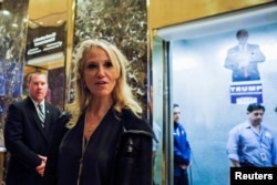 Campaign manager Kellyanne Conway arrives at Republican president-elect Donald Trump's Trump Tower in New York, Nov. 12, 2016.