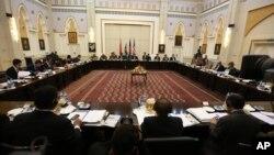 Ảnh tư liệu - Các phái đoàn đến từ Afghanistan, Pakistan, Hoa Kỳ và Trung Quốc thảo luận về một lộ trình để kết thúc chiến tranh với Taliban tại Phủ Chủ tịch ở Kabul, Afghanistan, ngày 23 tháng 2 năm 2016.