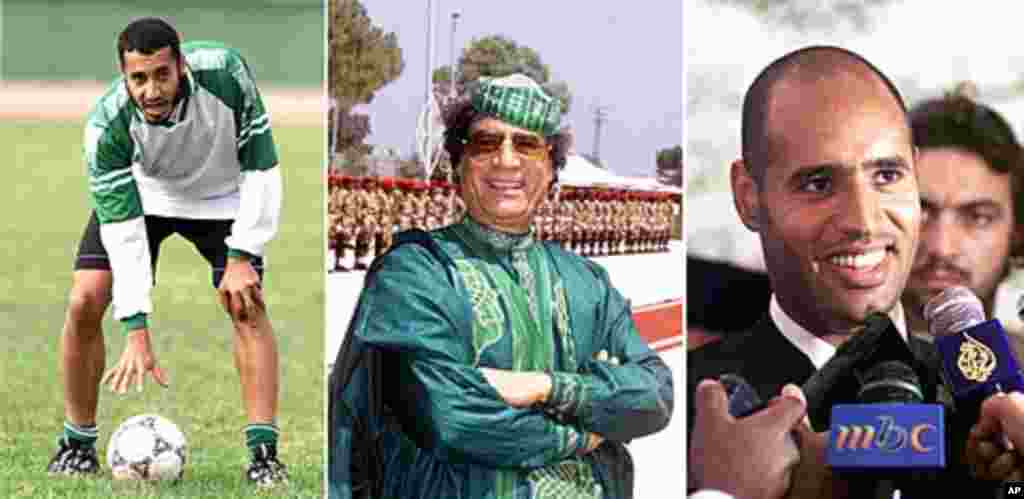 This combination photo shows Libyan leader Moammar Gadhafi, center, and his sons, left, Saadi, President of Libya's soccer federation and a national team player, and right, Saif al-Islam, chairman of the Gaddafi Foundation for Charitable Organizations. (A