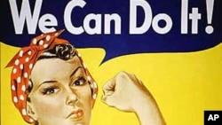 Poster 'Rosie the Riveter' yang terinspirasi oleh lukisan karya Norman Rockwell.