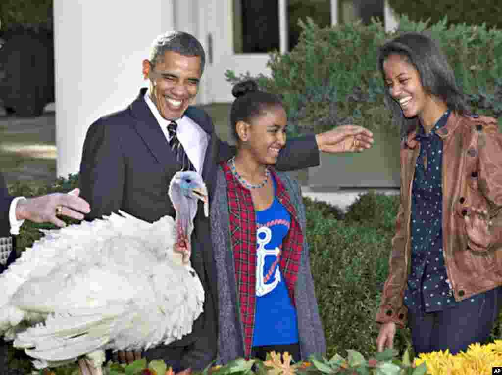 Le président Barack Obama, ses filles Sasha et Malia lors de la cérémonie traditionnelle de grâce présidentielle accordée à une dinde le 21 novembre 2012, dans la roseraie de la Maison-Blanche .