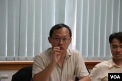 """""""兩岸政策協會""""副理事長譚耀南(美國之音楊明攝)"""