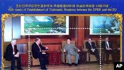 북한이 EU와 외교관계수립 10주년을 기념해 발행한 기념우표 (자료사진).
