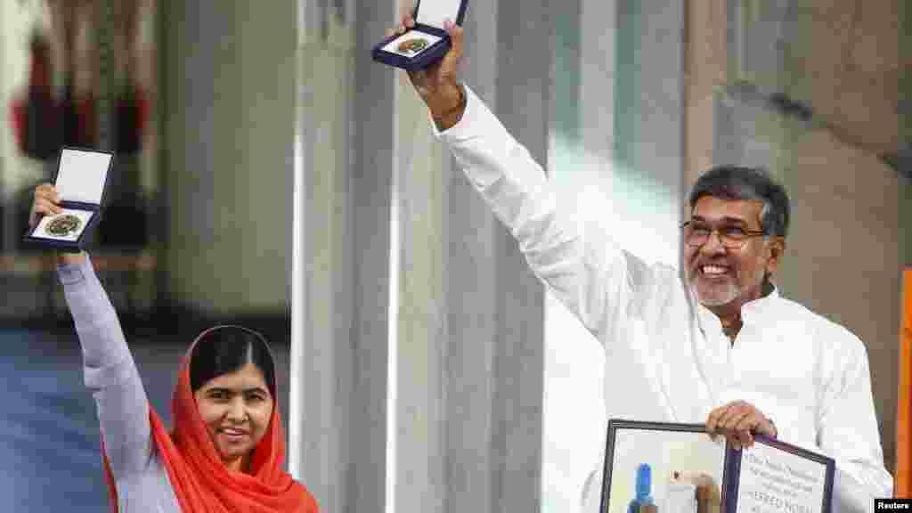 Malala Yousafzaida da Kailash Satyarthi sun karbi lambar yabo ta Nobel.