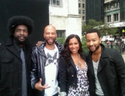 John legend, from right, with Melanie Fiona, Common and ?uestlove