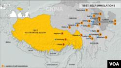 Bản đồ diễn biến các vụ tự thiêu ở Tây Tạng tính tới ngày 3/12/2012.