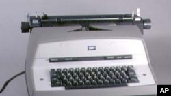 A braille electric typewriter, one of dozens of writing devices for the blind on display at the American Printing House's museum.