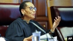 FILE - Sheila Abdus-Salaam, Associate Judge of the Court of Appeals, reacts during a case before the Court of Appeals, June 1, 2016, in Albany, New York.