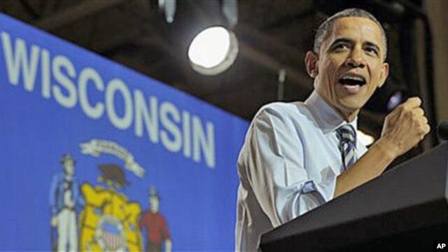 President Barack Obama speaks at Master Lock in Milwaukee, Wisconsin, February 15, 2012.