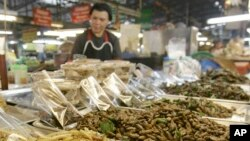 A Thai woman sells fried bugs at a market in Chiang Mai province, Thailand.