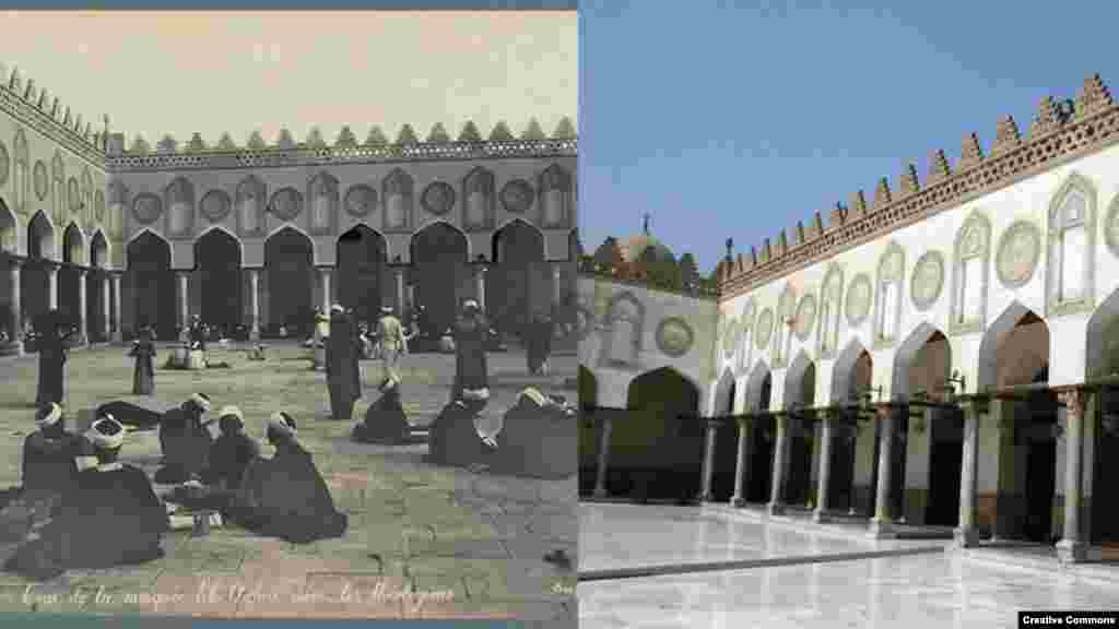 Al-Azhar University, Cairo, Egypt, founded c. 970 by the Fatimid Caliphate, it is still a global center of Islamic studies (L) ca. 1867-1899, Maison Bonfils (Beirut. Library of Congress (R) 26 September 2011, CC/Poco a Poco.