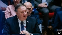U.S. Secretary of State Mike Pompeo speaks at the U.N. Security Council at the U.N Headquarters, Jan. 26, 2019. Pompeo encouraged the council to recognize Juan Guaido as the constitutional interim president of Venezuela.