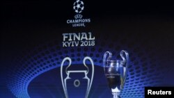 The UEFA Champions League trophy is pictured
