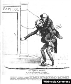 This 1832 political cartoon shows Jackson carrying Van Buren into office.