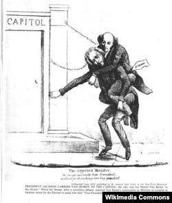 1832 Whig cartoon shows Jackson carrying Van Buren into office
