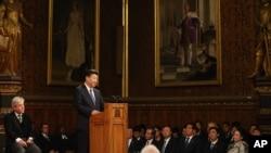 中国国家主席习近平在英国议会大厦皇家画廊发表演讲 (2015年10月20日)