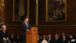 20일 영국 런던 의회에서 시진핑 중국 국가주석이 연설하고 있다.