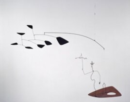 Alexander Calder's mobile of a wire figure of Saul Steinberg with clouds following behind.