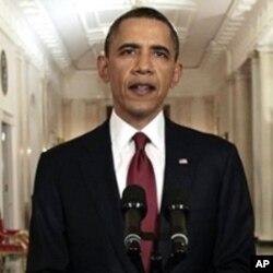 美国总统奥巴马五月一号晚间在白宫发表本.拉登被击毙声明