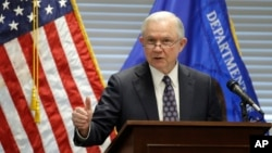 FILE - Attorney General Jeff Sessions speaks to federal, state and local law enforcement officials about sanctuary cities and efforts to combat violent crime, July 12, 2017, in Las Vegas.