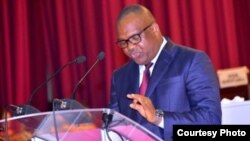 Corneille Nangaa mokambi ya misala mya maponami CENI azali koyanola na bakeli mibeko na Assemblée nationale, Kinshasa, 13 avril 2021. (Twitter/CENI-RDC_