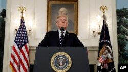 美國總統川普在白宮就這次槍擊事件發表聲明(2017年10月2日)