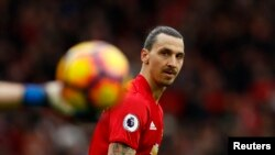 Zlatan Ibrahimovic lors du match qui oppose Manchester United et l'AFC Bournemouth, le 4 mars 2017.