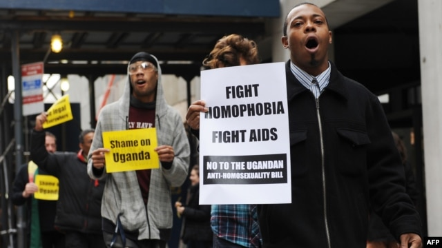 People protest against Uganda's proposed anti-homosexuality bill in New York on Nov 19, 2009.