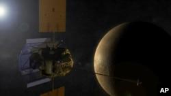An artist's concept shows the MESSENGER spacecraft in orbit around Mercury