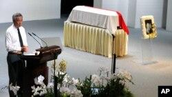 PM Singapura Lee Hsien Loong, memberikan pidato pada upacara pemakaman ayahnya, Lee Kuan Yew, di Singapura, 29 Maret 2015 (foto: dok).